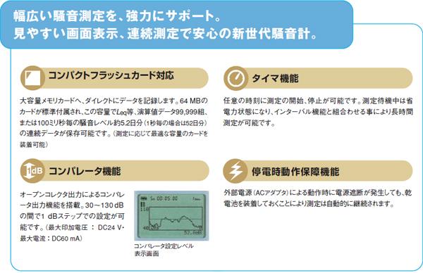 幅広い騒音測定を、強力にサポート。見やすい画面表示連続測定で安心の新世代騒音計。