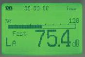 騒音レベル表示画面(バックライト点灯時)